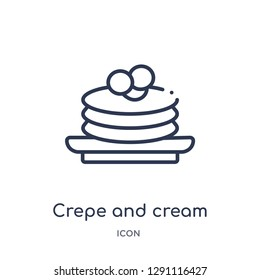 Linear crepe and cream icon from Bistro and restaurant outline collection. Thin line crepe and cream vector isolated on white background. crepe and cream trendy illustration