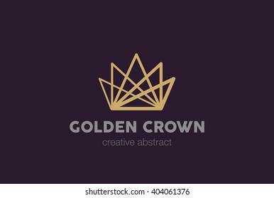 Linear Crown abstract Logo design vector template.