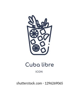 Linear cuba libre icon from Drinks outline collection. Thin line cuba libre icon vector isolated on white background. cuba libre trendy illustration