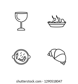 Linear Cup, Paella with Parwns, Combine Meal, Bakery Croissant Vector Illustration Of 4 outline Icons. Editable Pack Of Cup, Paella with Parwns, Combine Meal, Bakery Croissant