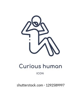 Linear curious human icon from Feelings outline collection. Thin line curious human icon vector isolated on white background. curious human trendy illustration