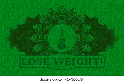 Linear currency decoration guitar icon and Lose Weight! text green pasture grass realistic badge. Eco handsome background. Vector illustration.