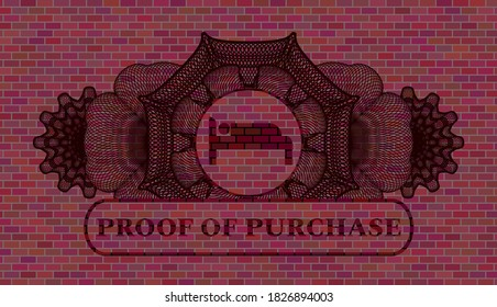 Linear currency decoration sleeping icon and proof of purchase text brick wall realistic emblem. Tiles delicate background. Vector illustration.