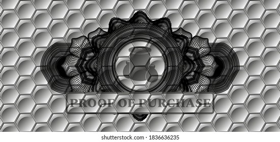 Linear currency decoration trash icon and proof of purchase text grey shiny hexagon style pattern realistic emblem. Trendy chic background. Artistic illustration.