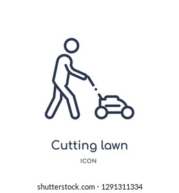 Linear cutting lawn icon from Behavior outline collection. Thin line cutting lawn vector isolated on white background.