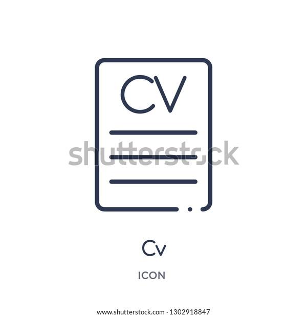 Linear Cv Icon Job Resume Outline Stock Vector Royalty Free