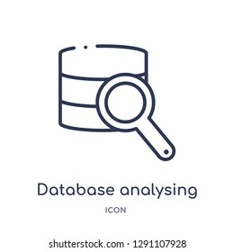 Linear database analysing icon from Business and analytics outline collection. Thin line database analysing vector isolated on white background. database analysing trendy illustration