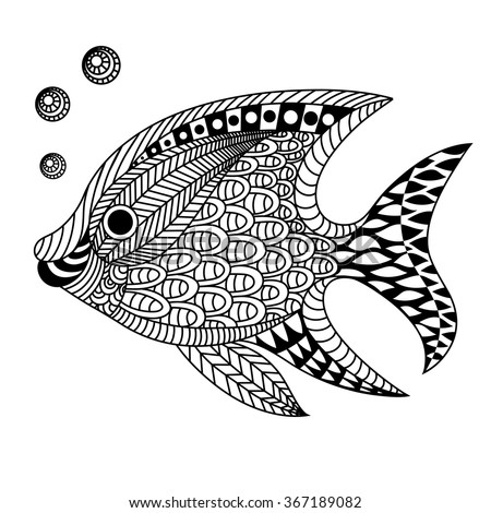 Linear Decorative Fish Doodle Art Zentangle Stock Vector Royalty