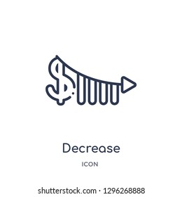 Linear decrease icon from Ecommerce and payment outline collection. Thin line decrease icon vector isolated on white background. decrease trendy illustration