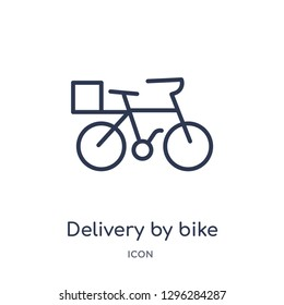Linear delivery by bike icon from Delivery and logistic outline collection. Thin line delivery by bike icon vector isolated on white background. delivery by bike trendy illustration
