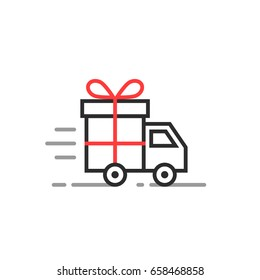 linear delivery truck with gift box. stroke flat style trend logotype graphic art design illustration isolated on white background. concept of supply of product from supermarket warehouse or store