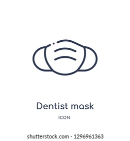 Linear dentist mask icon from Dentist outline collection. Thin line dentist mask icon isolated on white background. dentist mask trendy illustration