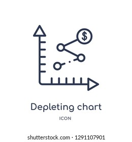 Linear depleting chart icon from Business and analytics outline collection. Thin line depleting chart vector isolated on white background. depleting chart trendy illustration
