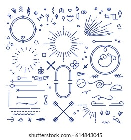 Linear design elements in vintage style drawing with blue lines on white background