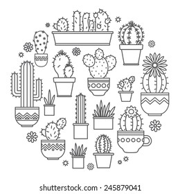 linear design, potted cactus. elements of a corporate logo