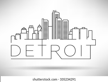 Linear Detroit City Silhouette with Typographic Design