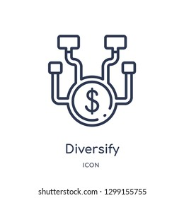 Linear diversify icon from Marketing outline collection. Thin line diversify icon isolated on white background. diversify trendy illustration