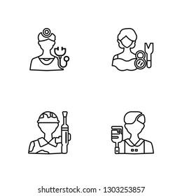 Linear Doctor, Militar, Makeup artist, Worker Vector Illustration Of 4 outline Icons. Editable Pack Of Doctor, Militar, Makeup artist, Worker