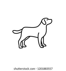 linear dog silhouette vector. dog logo icon template