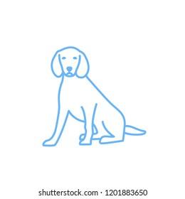 linear dog silhouette vector. dog logo icon template