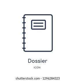 Linear dossier icon from Delivery and logistic outline collection. Thin line dossier icon vector isolated on white background. dossier trendy illustration