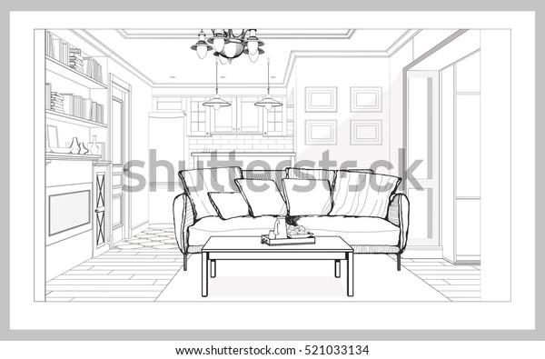 Image vectorielle de stock de Perspective intérieure du ...