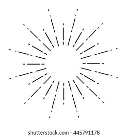 Linear drawing of rays of the sun in vintage style.