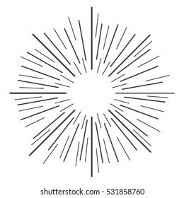 Linear drawing of rays of the sun in vintage style. Vector illustration