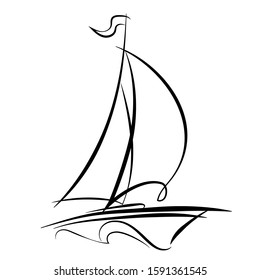 Linear drawing of a sailboat in the waves. Single line illustration of a yacht at sea. Logo sailboat in the sea. Boat with sails on the waves