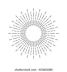 Linear drawing of sunshine rays in vintage style. Sunburst isolated on white background. Retro stylized symbol of sun. Sunlight outline vector illustration in EPS8 format.