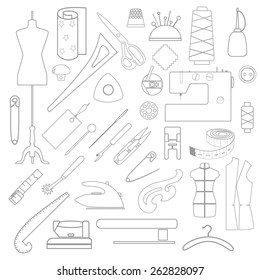 Linear drawn tailor's stuff scattered on white background. Illustration of sewing mess.