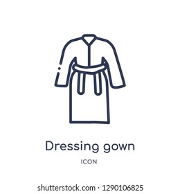 Linear dressing gown icon from Clothes outline collection. Thin line dressing gown vector isolated on white background. dressing gown trendy illustration
