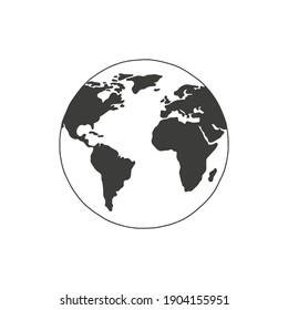 Linear earth silhouette. Globe. Planet Earth. Vector illustration.