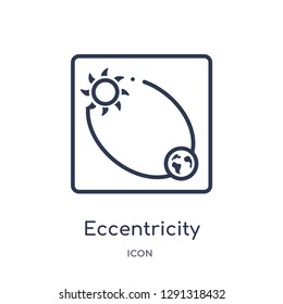 Linear eccentricity icon from Astronomy outline collection. Thin line eccentricity vector isolated on white background.