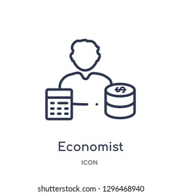 Linear economist icon from Cryptocurrency economy and finance outline collection. Thin line economist icon vector isolated on white background. economist trendy illustration