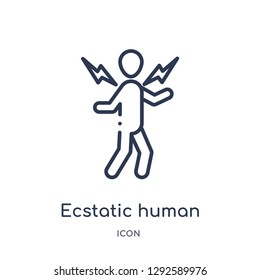 Linear ecstatic human icon from Feelings outline collection. Thin line ecstatic human icon vector isolated on white background. ecstatic human trendy illustration