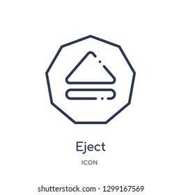 Linear eject icon from Interface outline collection. Thin line eject icon isolated on white background. eject trendy illustration
