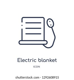 Linear electric blanket icon from Electronic devices outline collection. Thin line electric blanket icon vector isolated on white background. electric blanket trendy illustration