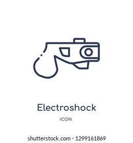 Linear electroshock weapon icon from Law and justice outline collection. Thin line electroshock weapon icon isolated on white background. electroshock weapon trendy illustration