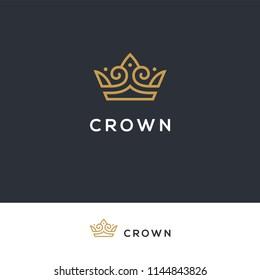 Linear elegant crown icon. Hotel, boutique, spa logo. Royal, luxury vintage symbol in golden color.
