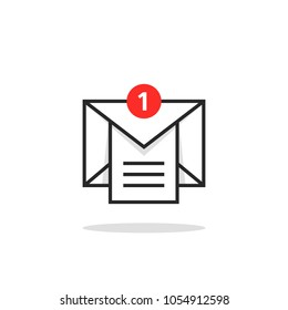 linear email like inbox notice logo. concept of marketing e-mail with attachment or overload mail box. trend modern black and red postal or mms logotype graphic outline design isolated on yellow