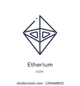 Linear etherium icon from Cryptocurrency economy and finance outline collection. Thin line etherium icon vector isolated on white background. etherium trendy illustration