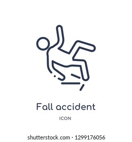 Linear fall accident icon from Insurance outline collection. Thin line fall accident icon isolated on white background. fall accident trendy illustration