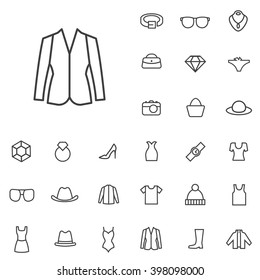 Linear fashion icons set. Universal fashion icon to use in web and mobile UI, fashion basic UI elements set