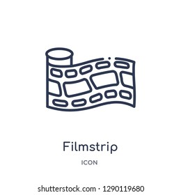 Linear filmstrip icon from Cinema outline collection. Thin line filmstrip vector isolated on white background. filmstrip trendy illustration