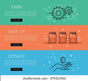 Linear financial web banners vector set. Line gears, fund jars, donate hand, coins, currency symbol, money sign. Design set of graphic outline banners illustration