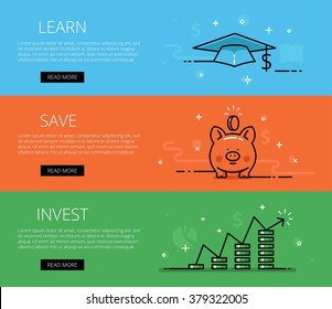 Linear financial web banners vector set. Line mortar board, piggy bank, money pillars, chart, diagrams, coins, currency symbol, money sign. Design set of graphic outline banners illustration