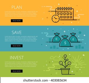 Linear financial web banners vector set. Line plan, watch, money bags, money tree, coins, currency symbol, money sign. Design set of graphic outline banners illustration