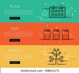 Linear financial web banners vector set. Line plan, watch, money jars, money tree, coins, currency symbol, money sign. Design set of graphic outline banners illustration