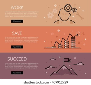 Linear financial web banners vector set. Line man, cogs, wrench, money piles, mountains, clouds and flag. Design set of graphic outline banners illustration